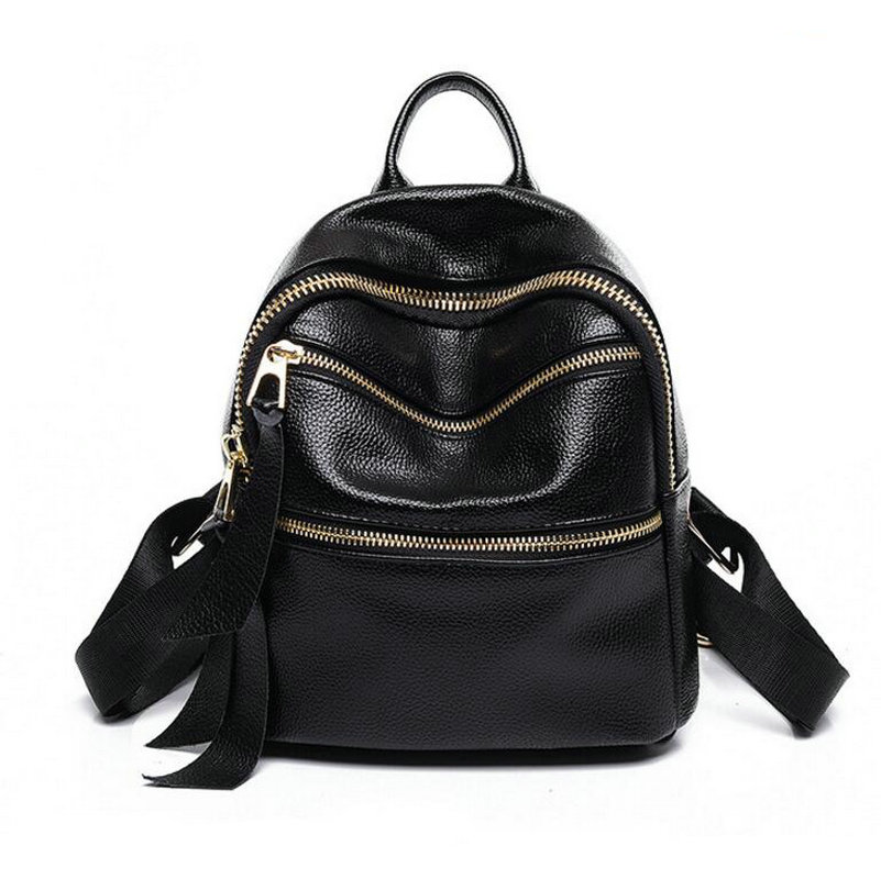 2017 Famous Brand Backpack Genuine Leather Women Backpacks Solid Vintage Girls School Bags for Girls Black