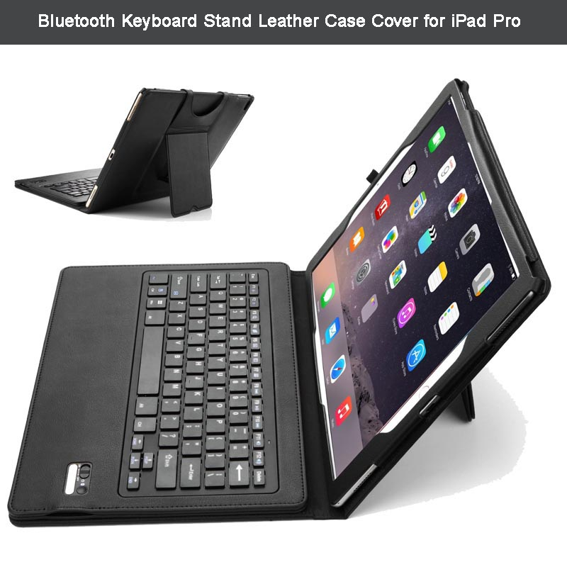ФОТО Ultra-Thin High Quality DETACHABLE Wireless Bluetooth Keyboard Stand Portfolio Leather Case / Cover for Apple iPad Pro 12.9 inch