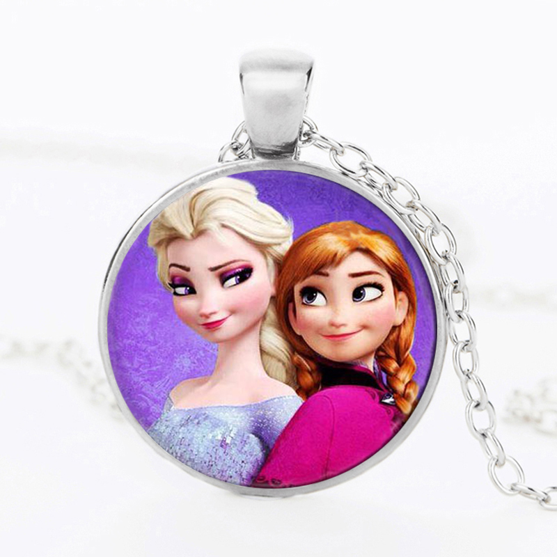 Newest Silver Necklace Elsa Anna Olaf cartoon Girl s