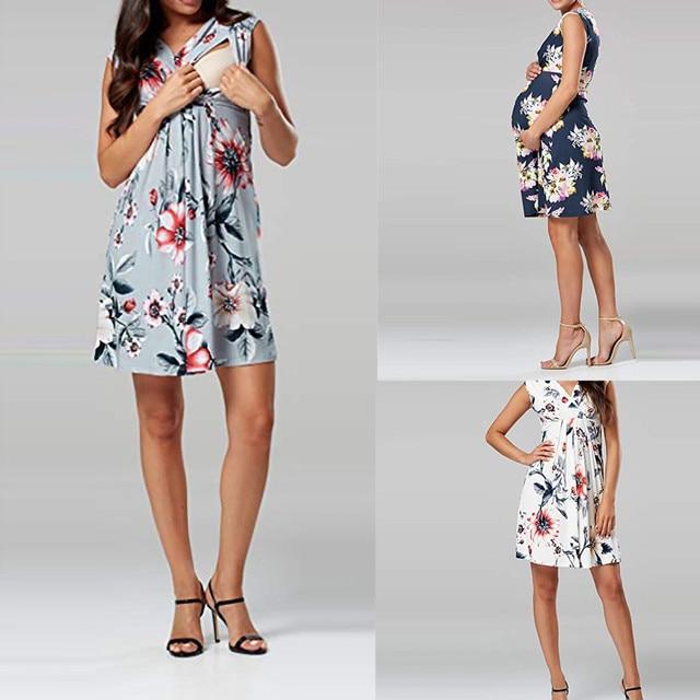 2019 Summer Pregnant Women Nursing Dress Clothes Women Sleeveless Pregnant Maternity Dress Flower Nursing Pregnancy Casual