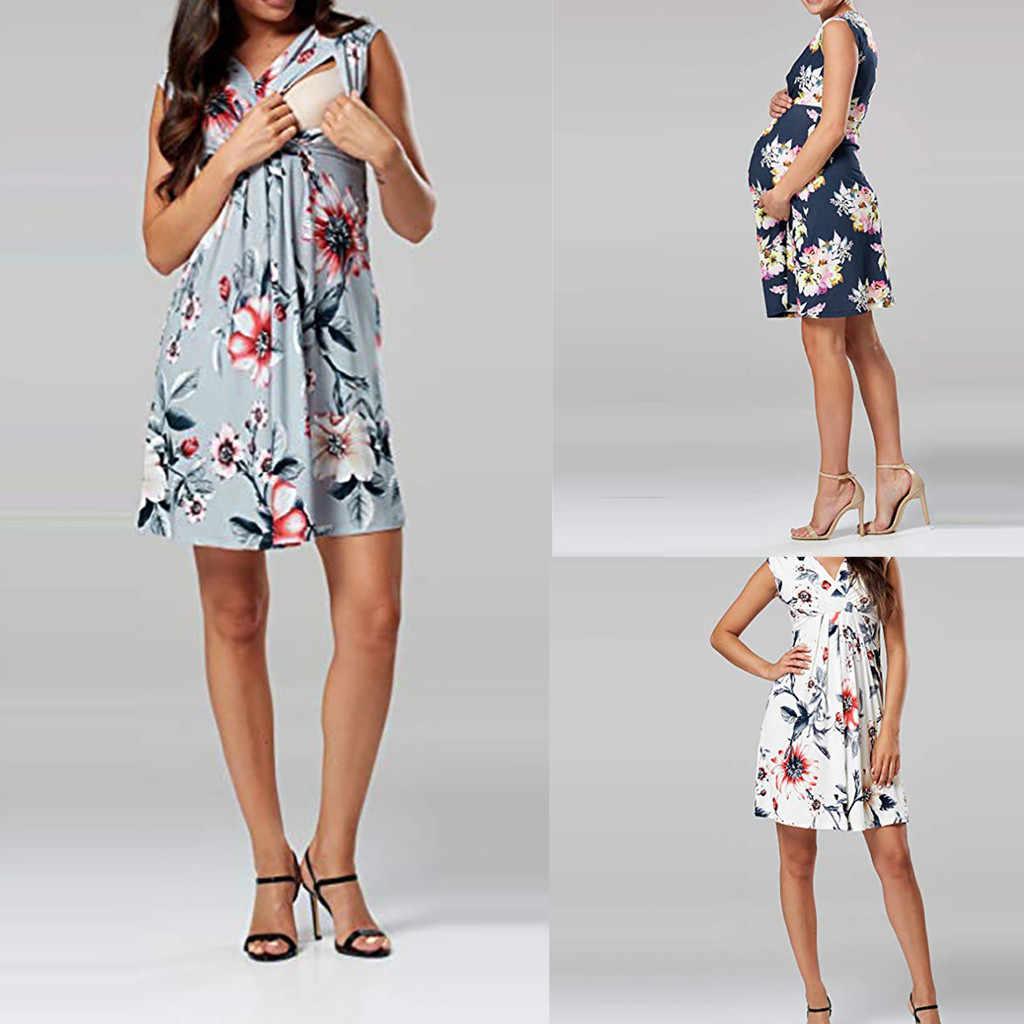 aa4b87a4f 2019 Summer Pregnant Women Nursing Dress Clothes Women Sleeveless Pregnant  Maternity Dress Flower Nursing Pregnancy Casual
