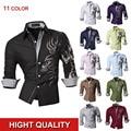Melhor Qualidade Da Marca New Chegada Tarja Sólida Mens Luxo Formais Negócio Confortável Na Moda Vestido de Camisa 11 Cores 5 Tamanhos Z001