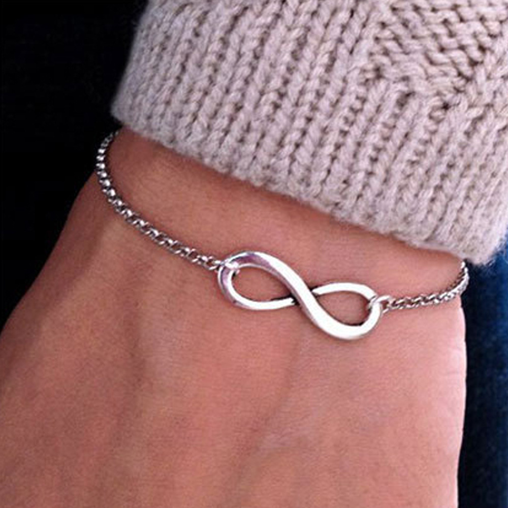 Europe And America Restore Ancient Ways Simple Lucky Number Personality 8 Word Lady Bracelet
