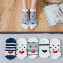 5 Pair Fashion Women Kawaii 3D Heart ear Socks Cute Simple Fresh Female Sock With Stripe Dots Stars Big Red Shape