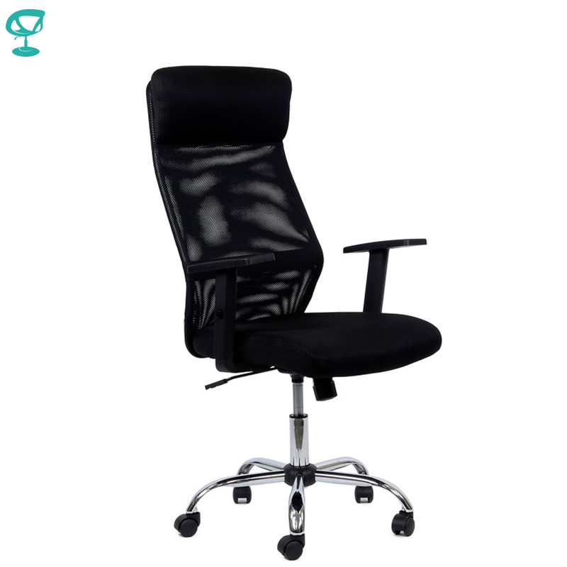 95166 Black Office Chair Barneo K-125 Fabric And  Mesh High Back Chrome Armrests Withgas Lift Roller Free Shipping In Russia