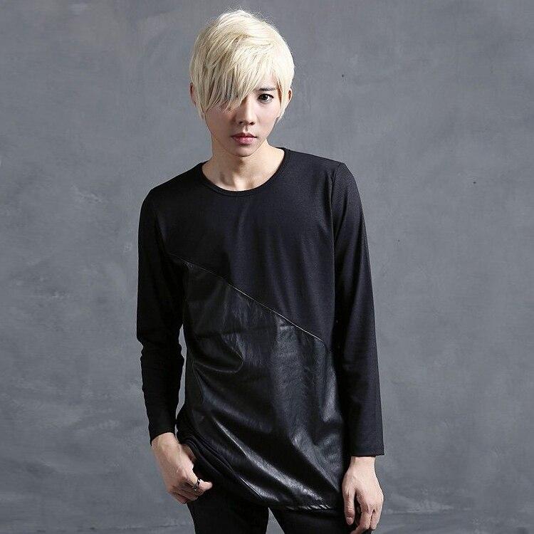 Autumn Spring pu leather t shirt men Black Irregular Long sleeve Rock punk Hip hop tee