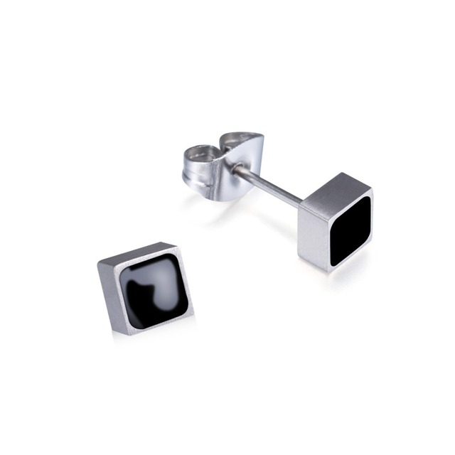 1c0144d2b New Black & White Resin 100 % Pure Titanium Tiny Square Stud Earrings For  Women Girls Gift Christmas Ear Jewelry