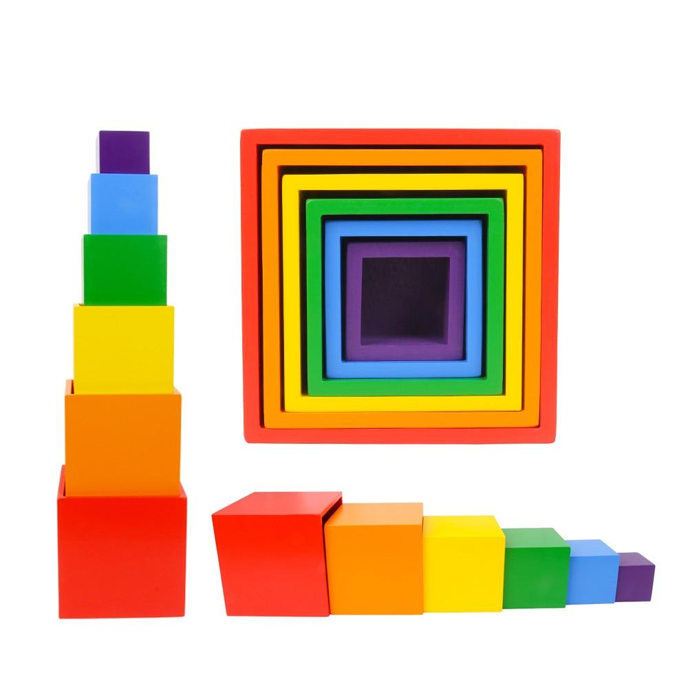 Multicolore bricolage blocs de construction 6 couleurs arc-en-ciel jouet brique enfant boîte carrée en bois intérêt bébé éducatif Quiz blocs de construction
