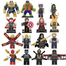 16pcs lot Avengers 3 Infinity War Action Figure Black Panther Thanos Hulk Building Blocks Compatible with