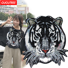 GUGUTREE embroidery paillette big patches tiger animal badges for jackets