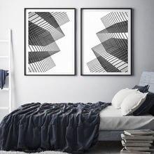 Скандинавский минималистичный геометрический холст постер черно