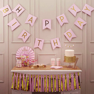 Image 2 - 1 Bag Lovely Hang Pennants Happy Birthday Paper Flag Party Favor Decor Celebration Supplies Happy Birthday Letter Banner XH8Z