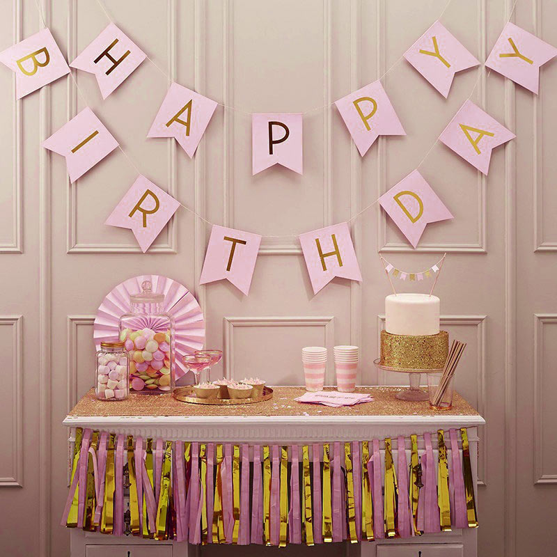 Image 3 - 1 Bag Lovely Hang Pennants Happy Birthday Paper Flag Party Favor Decor Celebration Supplies XH8Z JY20-in Banners, Streamers & Confetti from Home & Garden