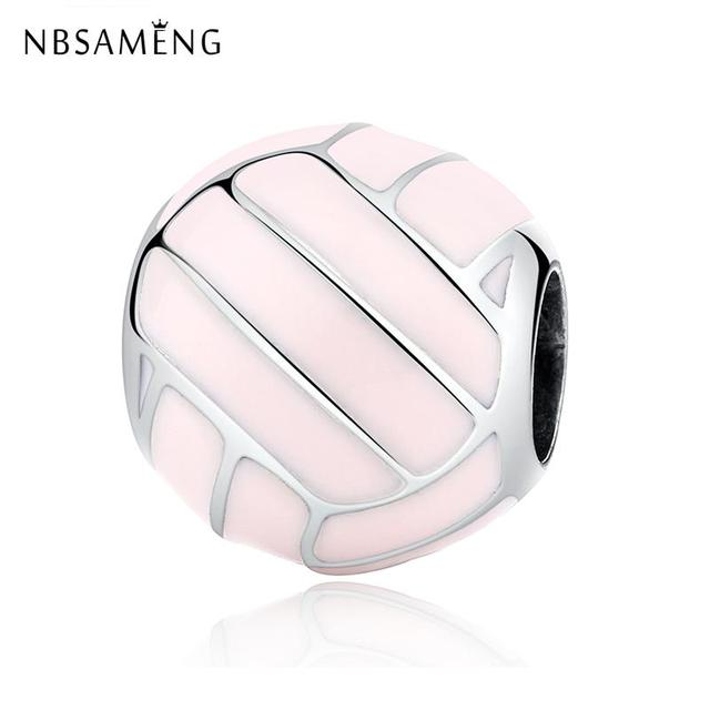 Authentic 100% 925 Sterling Silver Bead Charms Pink Volleyball Shape Sports Charm Fit Pandora Women Bracelets & Bangles Jewelry