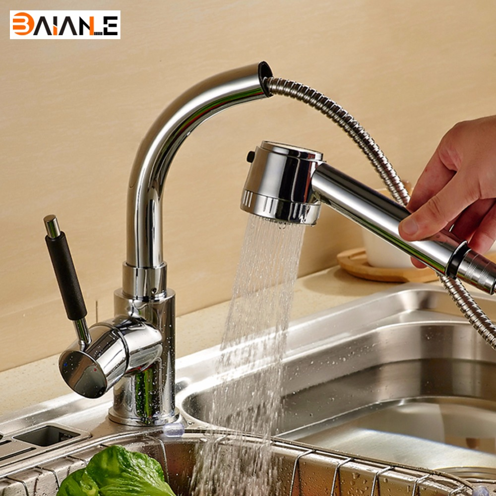 Kitchen Faucet with Pull Down Sprayer Brass 360 Degree Swivel Single Handle Single Hole Pull Out