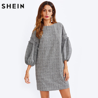 SHEIN Frilled Exaggerated Lantern Sleeve Grid Dress Grey Three Quarter Length Sleeve Plaid Dress Straight Autumn Dress