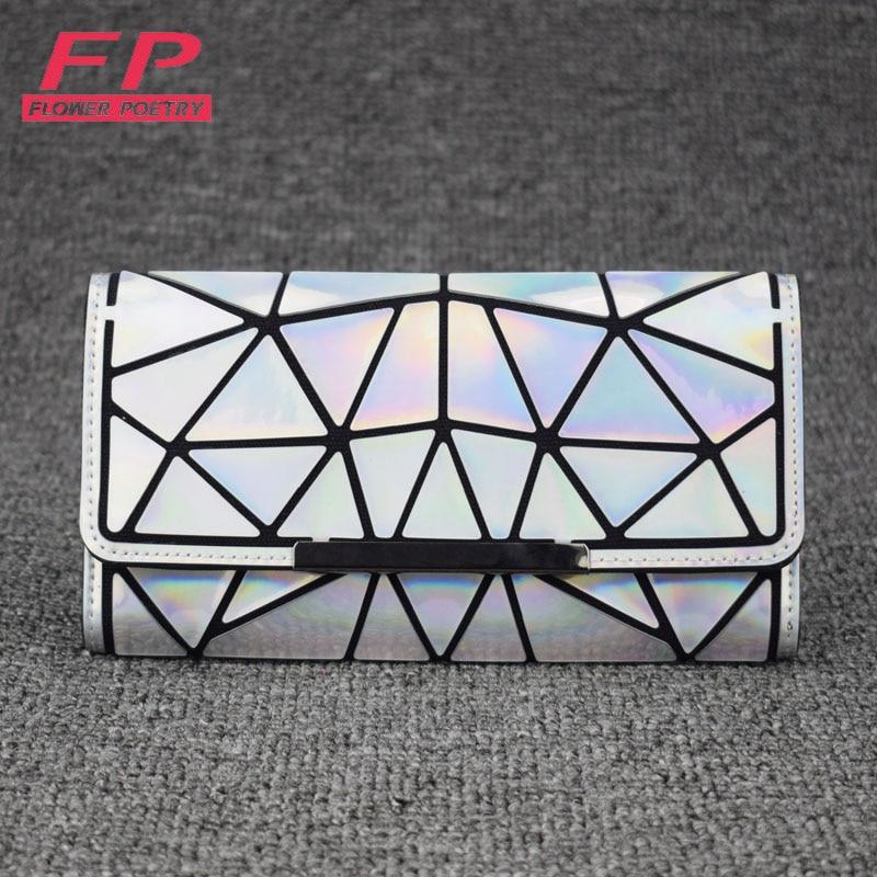 Moda Feminina Longo Zíper Da Bolsa Da Carteira de Embreagem Geometria Padrão de Treliça de Diamante Carteiras Femininas bolsa Titular do Cartão Saco Do Telefone Carteira