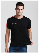 Mens Casual Summer Game Mass Effect N7 T-shirts Printed Pattern 100% Cotton Tees Tops Short Sleeve Black Color