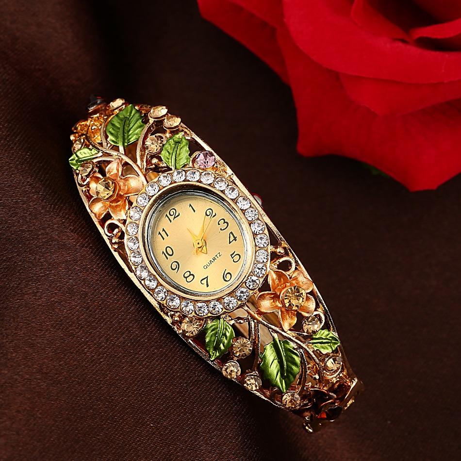 Fashion Multicolor Flower Bracelet Watch Women s Watches Luxury Rhinestone Ladies Watch Women Watches Clock reloj