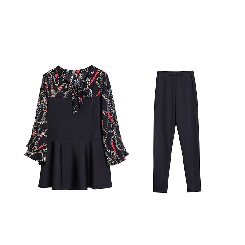 Black Elegant Printed Two Piece Sets Women Flare Sleeve Tunic Tops And Pants Suits Sets OL Style Casual Women's Sets Costumes 39