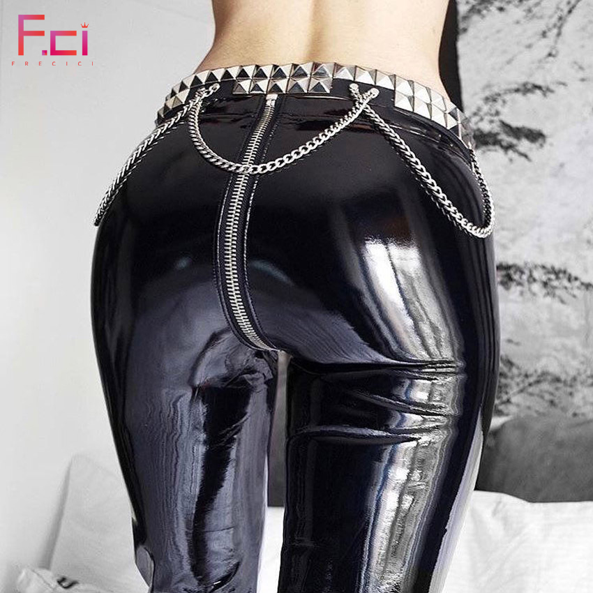 8eabdc691e9cac 2019 Women Sexy Shiny PU leather Leggings with Back Zipper Push Up Faux Leather  Pants Latex Rubber Pants Jeggings Black Red