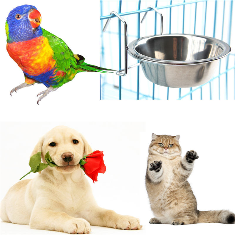 1PCS 2018 Pet Dog Cat Bowl Can Hang Stationary Dog Cage Bowl Stainless Steel Hanging Bowl Three Dimension Stationary Dog Bowl