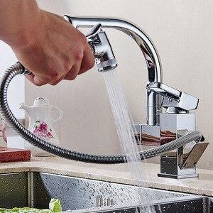 Image 5 - ポリッシュクロームデュアルプルアウトキッチン水栓デッキシャワー噴霧器キッチンタップ温水と冷水パイプ