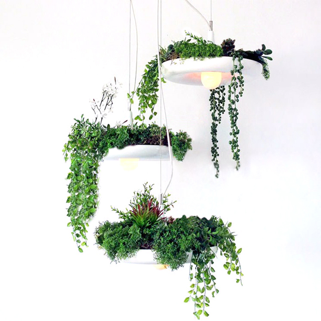 Nordic Style Flower Pot Plant Aluminum Pendant Light Lamp Secret Garden  Decoration Light Diameter