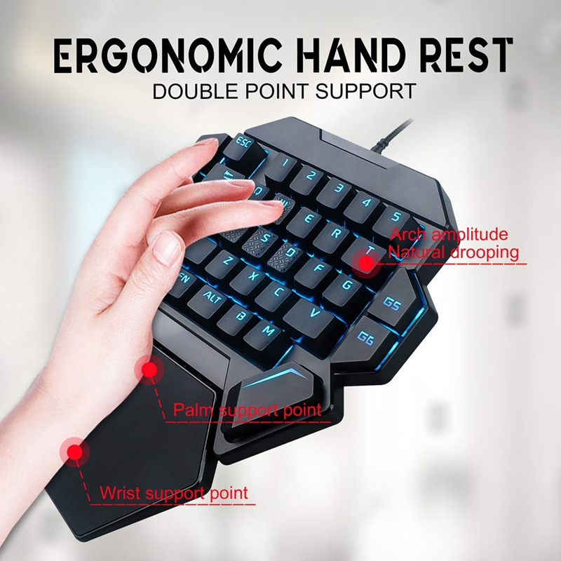 K50 Wired Gaming Mechanical Keyboard Blue Switch RGB One handed Keyboard Mechanical With Wrist Pad 35Key for PC MINI Keyboard in Keyboards from Computer Office