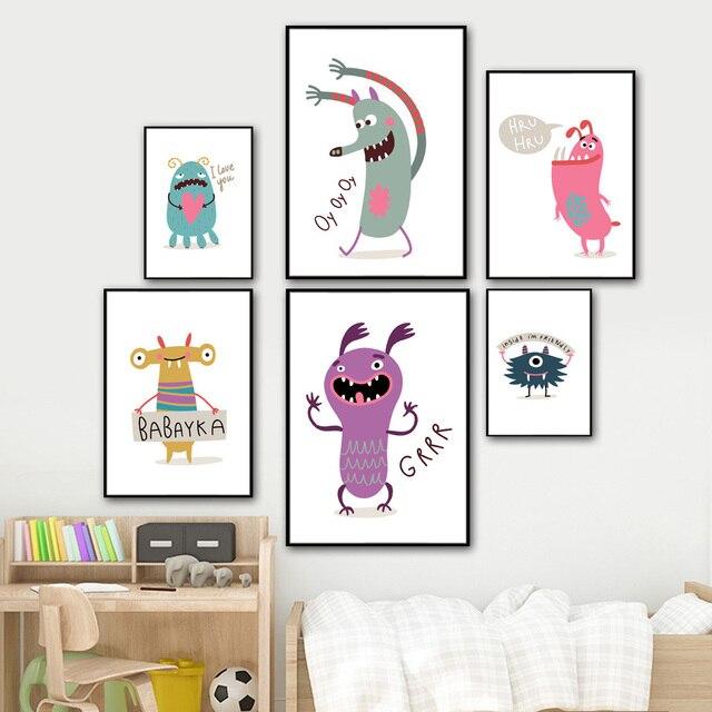 Monster Zitieren Nordic Poster Und Drucke Wand Kunst Leinwand ...
