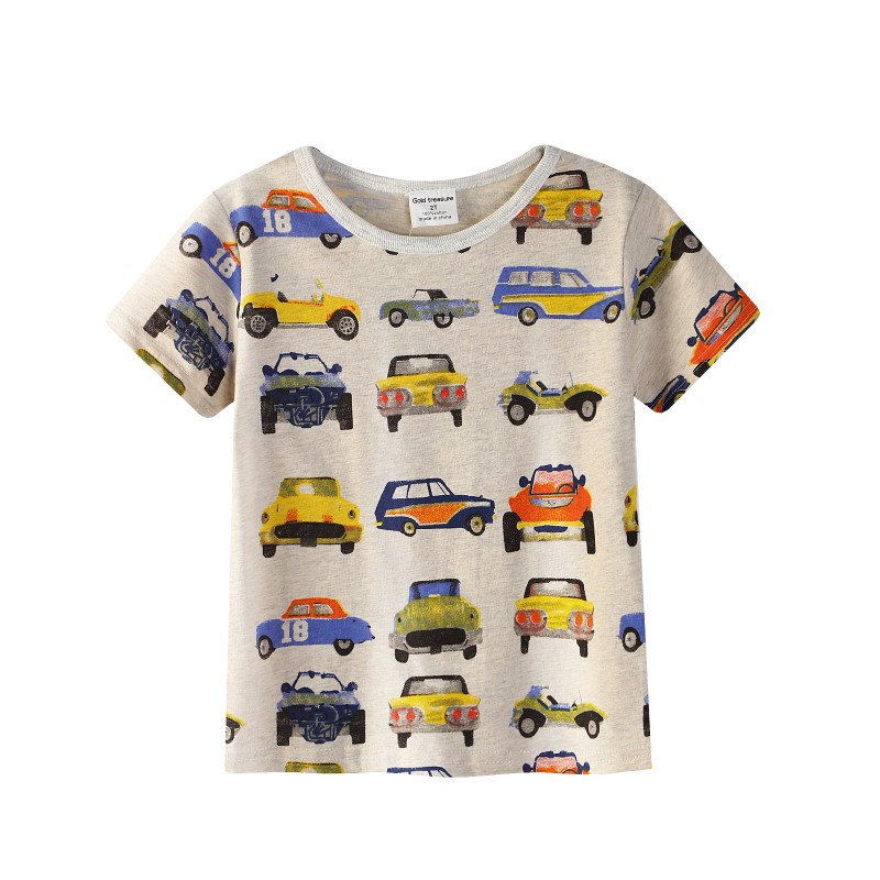 New Boy's T Shirt Popular Style Cotton Short-sleeved T-shirt Printing Children's Cartoon Gray Kids Boys Child's Clothes