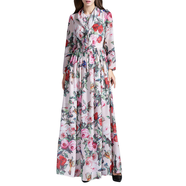 European Boutique Womens Rose Printed Fit and Flare Cocktail Party Dress with Scarves