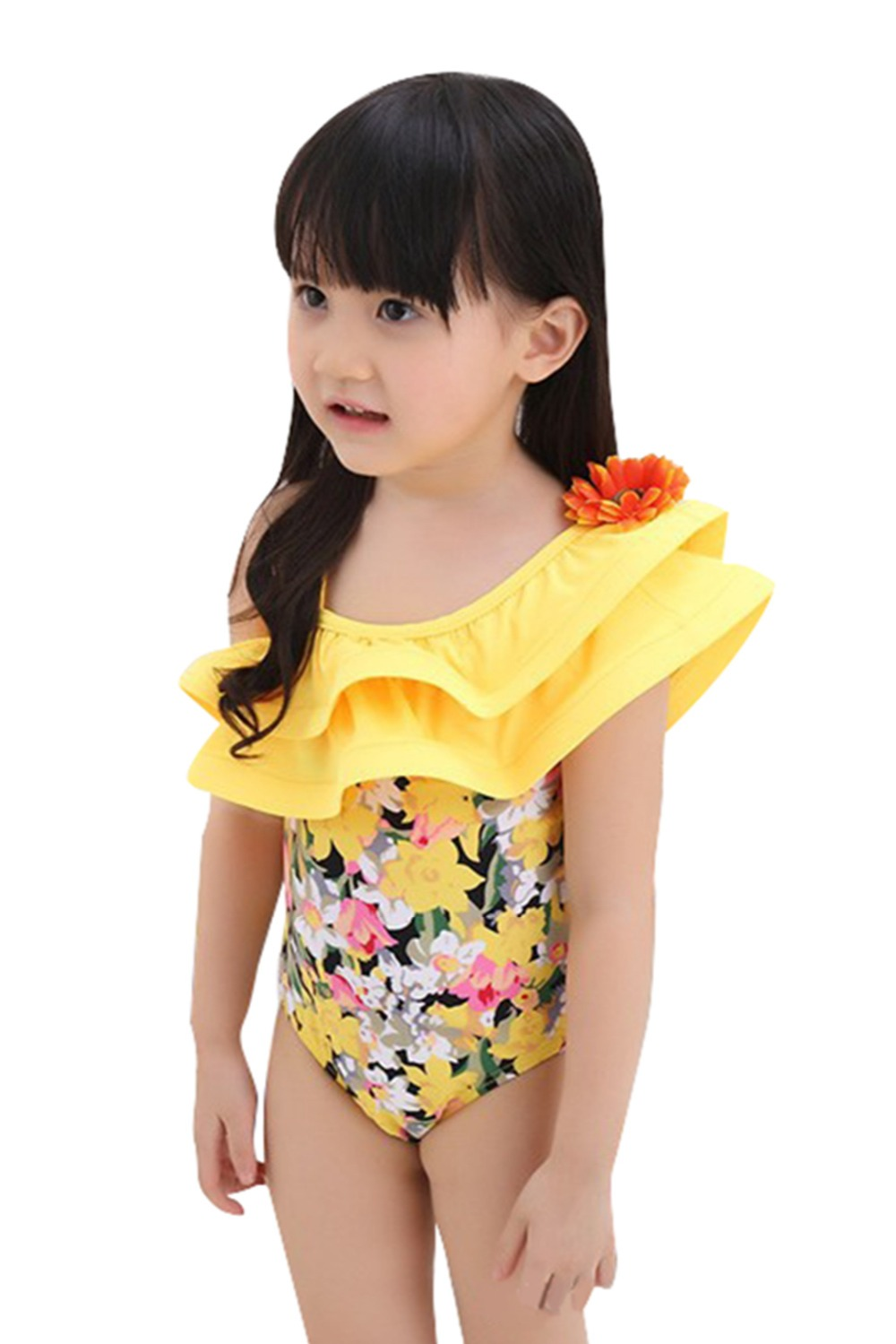 one piece yellow swimsuit floral swimming suit for kids ...