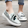 Nueva Señoras de La Manera Zapatos aumento de la Altura de Chiara Ferragni Blink Glitter Pestañas Gruesa Perezoso Suela Holgazanes Chaussure Femme
