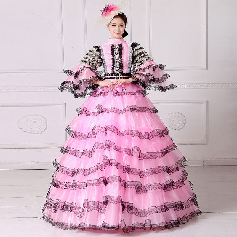 18th Century Pink Mesh Stand Neck Long Flare Sleeve European Court Party Dress Rococo Baroque Banquet Princess Ball gowns
