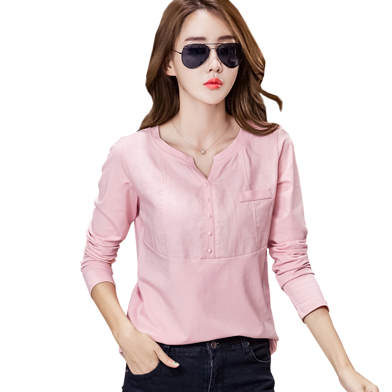 पोलेरास डी मुजेर लिनन कॉटन कोरियाई टीशर्ट टी शर्ट महिलाएं लंबी आस्तीन महिला टॉप 2019 टी-शर्ट टॉप्स फेम प्लस साइज कपड़े