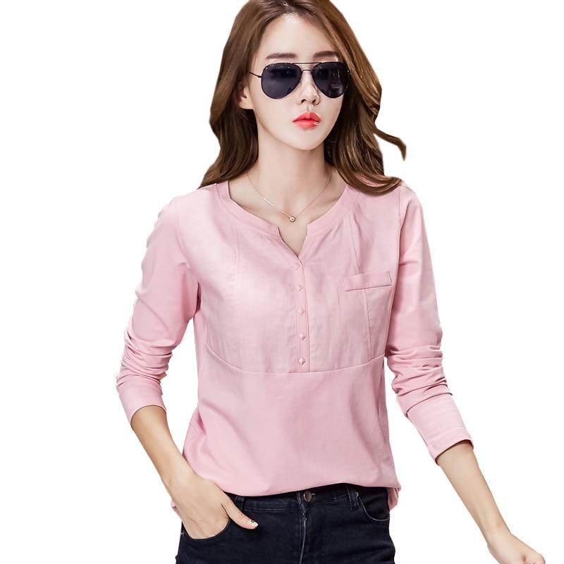 Poleras De Mujer Linasest puuvillane Korea t-särk T-särk Naiste pikkade varrukatega Naiste topid 2019 T-särgid Tops Femme Plus Size rõivad