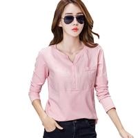 Linen Cotton T Shirt Women Camisas Femininas 2017 Womens Long Sleeve Tops Korean Tshirt T Shirt