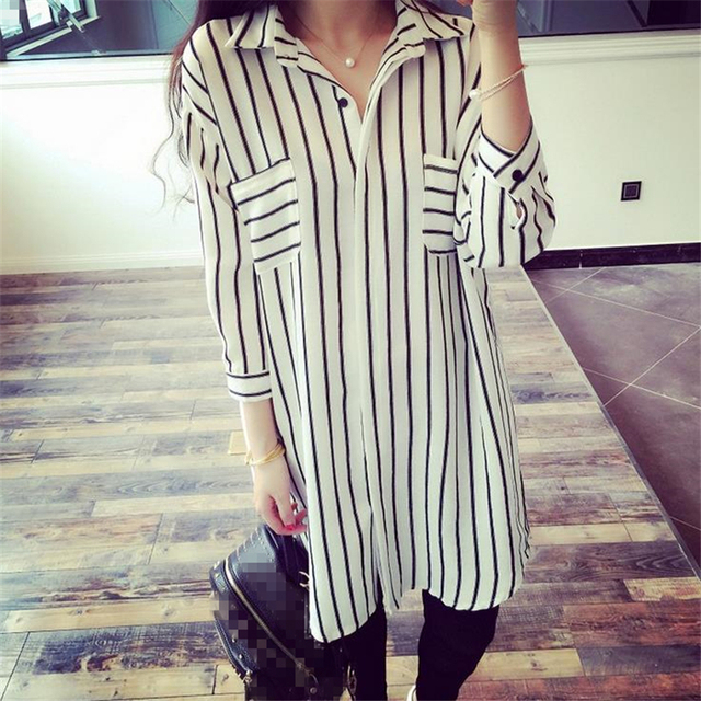 DoreenBow New Fashion Striped Blouse Tops Women Spring Autumn Style Long Sleeve Turn-down Collar Shirts Over Big 5XL Size, 1 PC