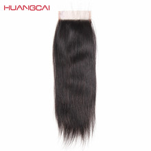 Huangcai Straight human hair Lace Closure with baby hair 4x4inch size 130% non remy hair free part no shed and tangle 8-18inch