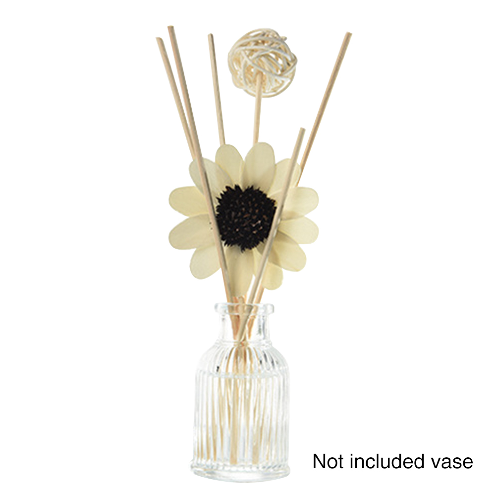Spa Rattan Ball Home Bathroom Aromatherapy Stick Decoration Fragrance Fresh Air Sun Flower Reed Diffuser Set Excluding Vase