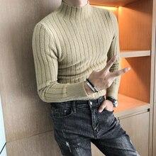 Turtle Neck Men Winter Sweater For Men Black White Khaki Slim Fit Causual Knitted Sweater Elegent Warm Jerseys Hombre Invierno