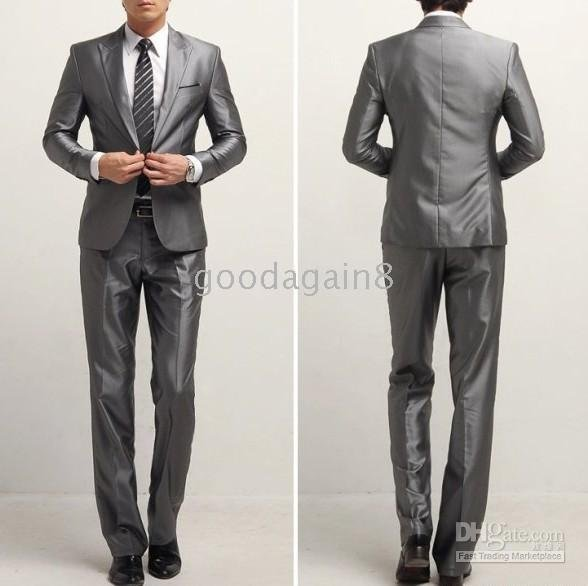 A single breasted one suit Silver silk clothing   suit pants ...