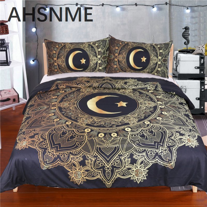 AHSNME 3 Pcs Gold Mandala Flowers Star Moon Duvet Cover Black Dark Blue Bedding Set Soft Quilt Cover Single Bed CoverAHSNME 3 Pcs Gold Mandala Flowers Star Moon Duvet Cover Black Dark Blue Bedding Set Soft Quilt Cover Single Bed Cover