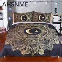 AHSNME 3 Pcs Gold Mandala Flowers Star Moon Duvet Cover Black Dark Blue Bedding Set Soft Quilt Cover Single Bed Cover