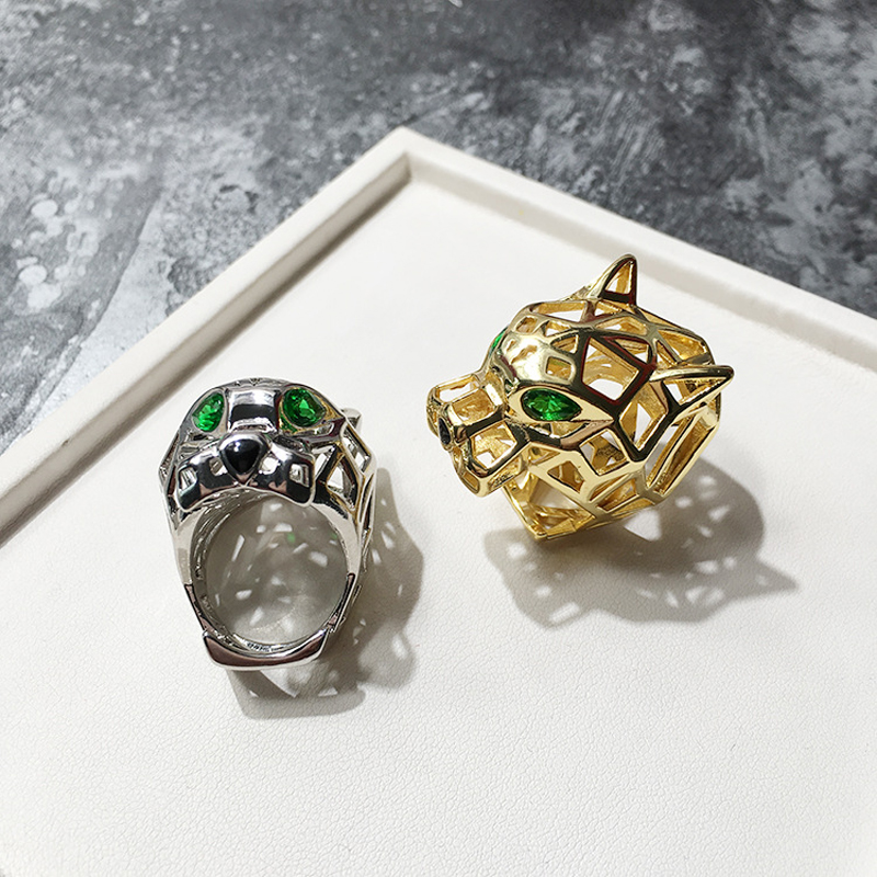 Image 3 - Top Quality Hollow Green Eye Leopard Ring Gold Color Micro Mosaic Crystal Stone Bohemia Bossy Ring For Men Women Luxury Jewelry-in Rings from Jewelry & Accessories