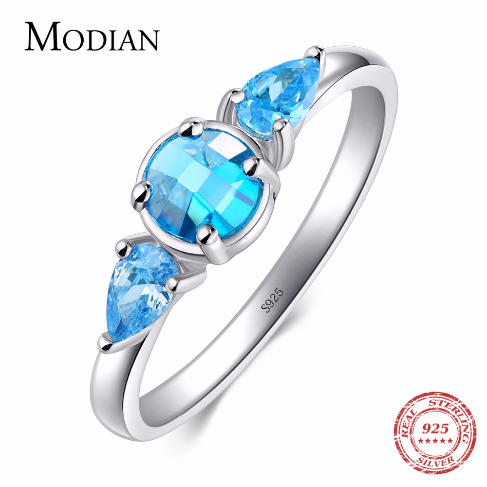 Modian 2018 New Fashion Real 925 Sterling silver Zirconia Ring Summer Collection Round Zircon Classic Wedding Jewelry For Women