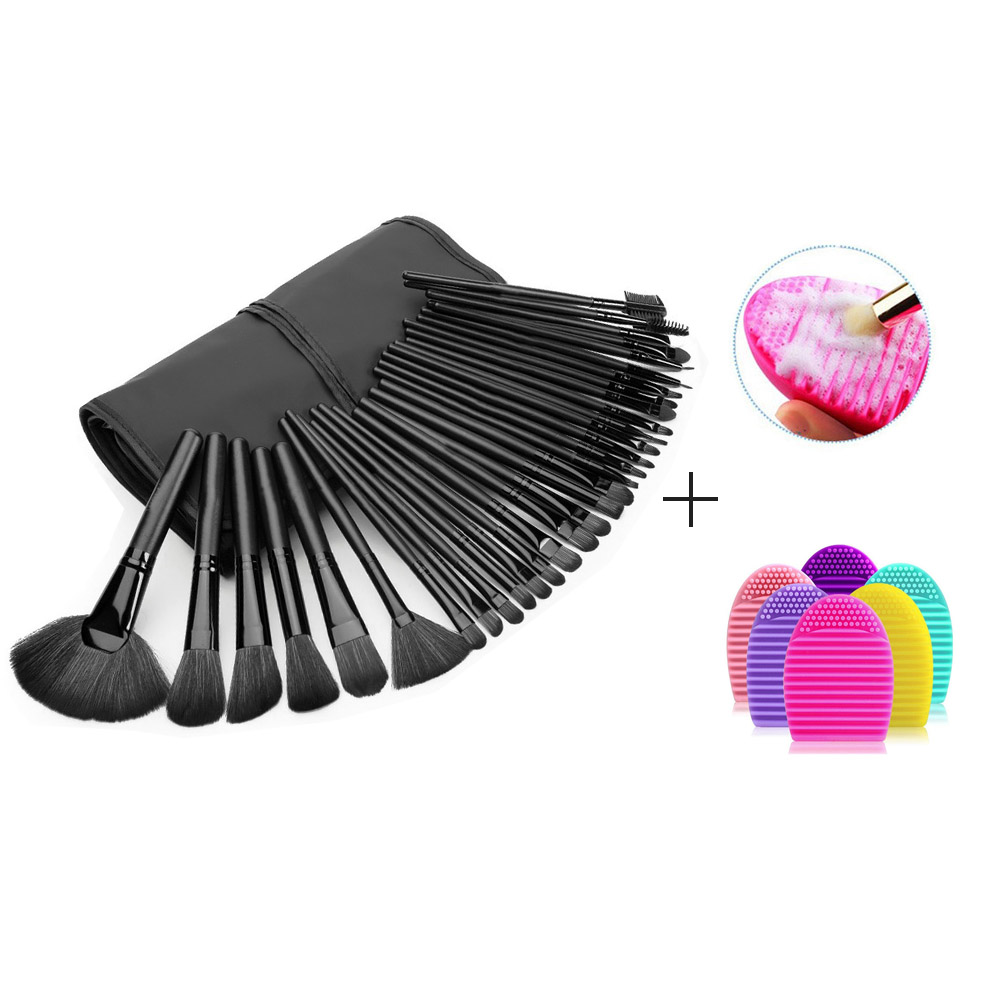 Makeup Brush Set with Brush Cleaner 32Pcs Foundation Blusher Eye Powder Brushes Cosmetic Bag pincel maquiagem Make Up Brush Kit stylish 7 pcs nylon makeup brushes set with brush bag 2 pcs foundation brush powder puffs