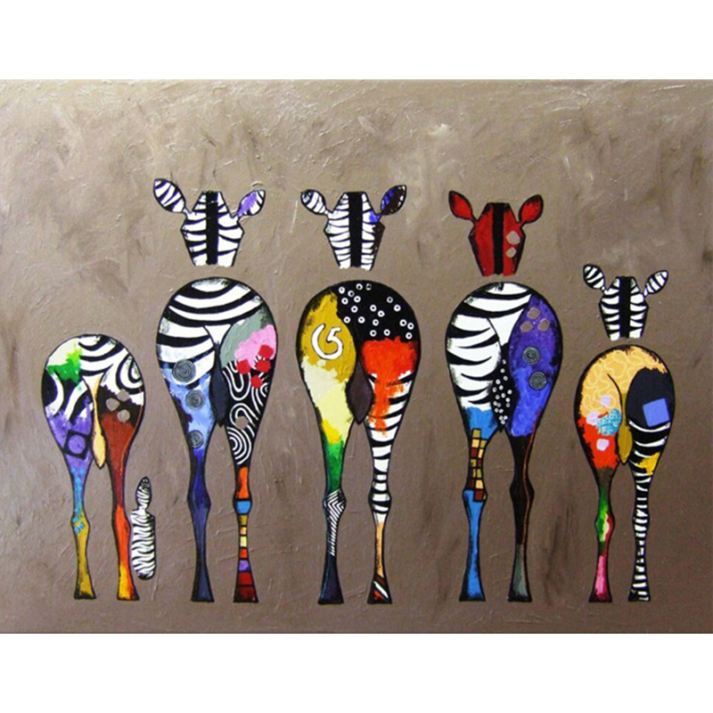 Five Colorful Zebra Big Ass Hand Made Paint High Quality Canvas Beautiful Painting By Numbers Surprise Gift Great Accomplishment