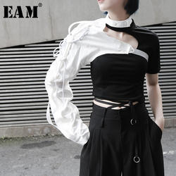 [EAM] 2019 Новинка Весна Лето нагрудные односторонние аксессуары с длинными рукавами неправильная рубашка мужская женская блузка Мода JX407